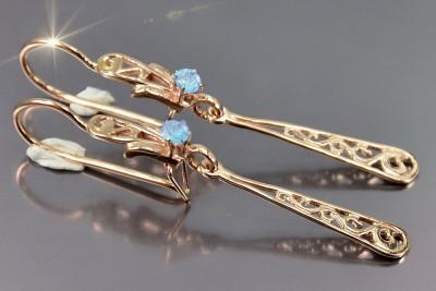 Russian rose Soviet gold earrings vens322