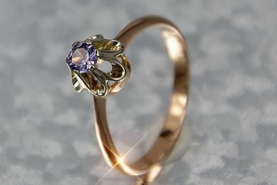Russian rose Soviet gold alexandrite ring vrax367